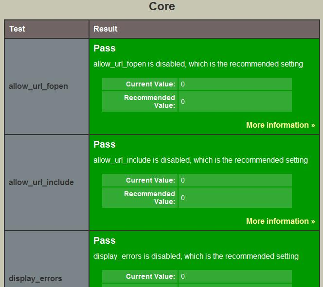 PHPSecInfo With Recommended Values