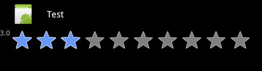 Android rating bar with 3 stars selected