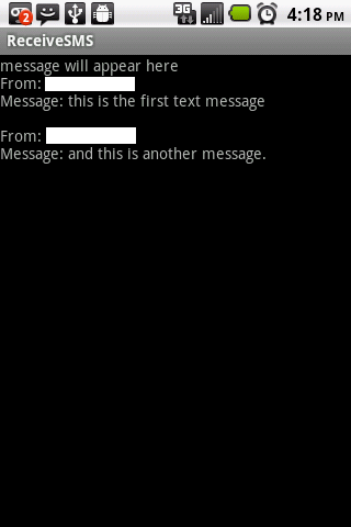sms app with two text messages